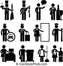 chef, cameriere, driver, bellman, maggiordomo