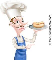 chef, cartone animato, presa a terra, hotdog