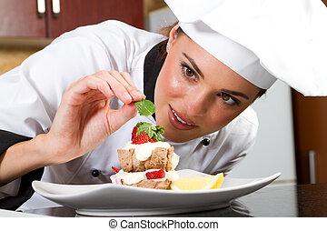 chef, cibo, decorare