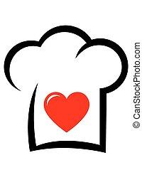 chef, cuore, cappello, segno