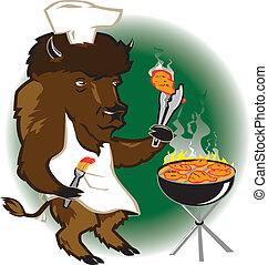 chef, griglia, bisonte
