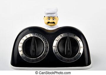 chef, maestro, timer, cucina