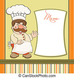 chef, menu, sorridente