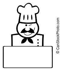 chef, nero, bianco, ammiccamento, bandiera