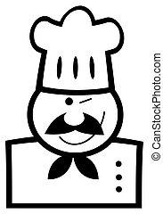 chef, nero, bianco, ammiccamento