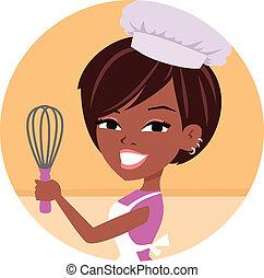 chef, panettiere, donna, americano, africano