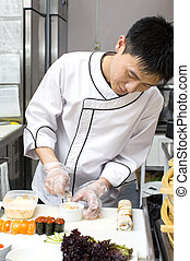 chef, piastra, sushi, giapponese