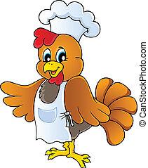 chef, pollo, cartone animato