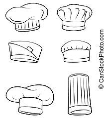 chef, set, cappello, collezione