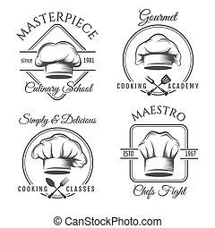 chef, set, cappello, etichetta