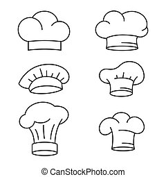 chef, set, cappello, icone