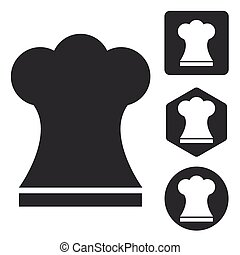 chef, set, icona, cappello, monocromatico