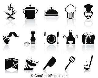 chef, set, nero, icone