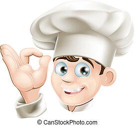 chef, sorridente, cartone animato