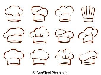 chef, vendemmia, cappelli, set, cuoco