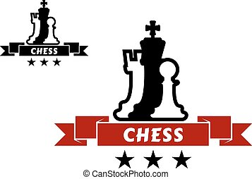 chessmen, differente, emblema, scacchi