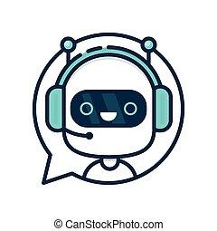 chiacchierata, bot, carino, sorridente, robot, divertente