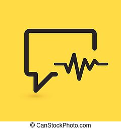 chiacchierata, fondo., vettore, medicina, cardiogramma, relativo, icon., isolato, giallo, parlante, illustrazione, bolla