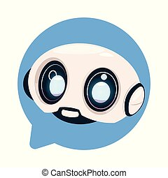 chiacchierata, o, robot, carino, bot, chatbot, discorso, icona, concetto, tecnologia, bolla, chiacchierare