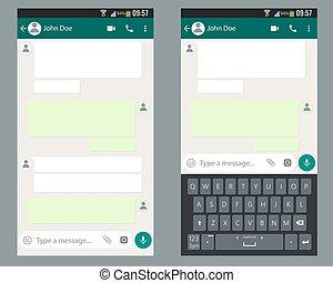 chiacchierata, sagoma, app, mobile, kit, screen., smartphone, tastiera, ui