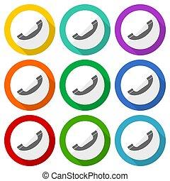 chiamata, bottoni, appartamento, mobile, contatto, colorito, icone, vettore, progetto serie, telefono, domande, webdesign