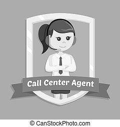 chiamata, donna, emblema, centro