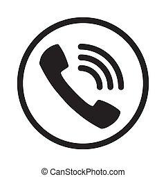 chiamata, telefono, simbolo., rumoroso, vector., chiamata, appartamento, icona