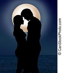 chiaro di luna, romanza, coppia, sotto