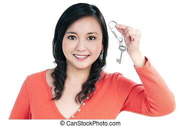 chiave, donna, giovane, presa a terra, attraente