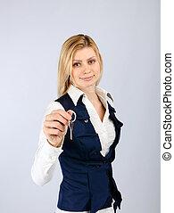 chiave, donna sorridente, affari, presa a terra