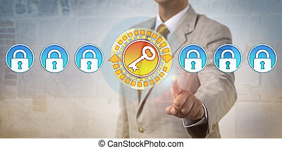 chiave, fila, serrature, evidenziando, amministratore