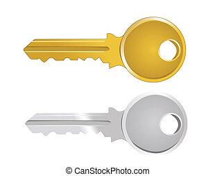 chiave, illustrazione, vettore