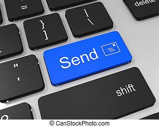 chiave, laptop, mandare, computer., tastiera