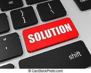 chiave, laptop, soluzione, computer., tastiera