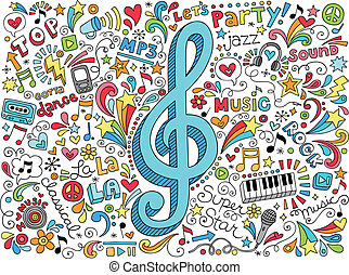 chiave, musica, doodles, note, scanalato