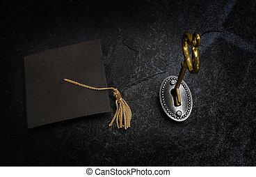 chiave, oro, educazione, berretto