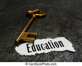 chiave, oro, messaggio, educazione