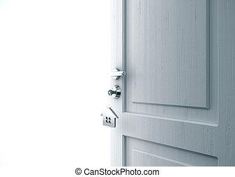 chiave, porta, aperto, serratura