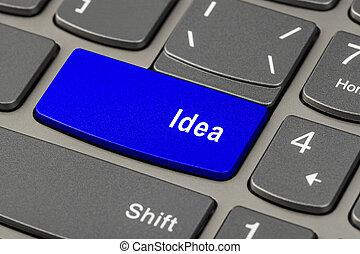 chiave, quaderno, computer tastiera, idea