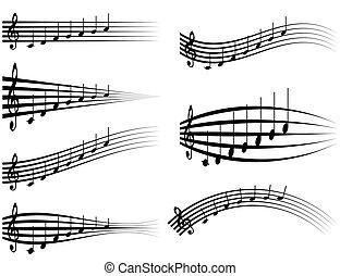 chiave tripla, studi, set, personale, disegno, suono, note, illustrazione, distorsione, doga, vettore, vario, logotipo, musicale, o