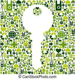 chiave verde, fondo, icone