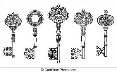 chiavi, anticaglia, 1, set, collezione