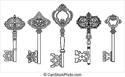 chiavi, anticaglia, 2, set, collezione