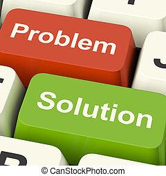 chiavi, assistenza, risolvere, soluzione, computer, linea, problema, mostra