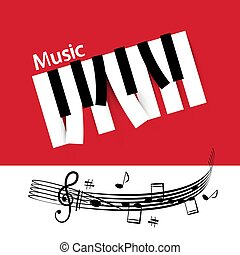 chiavi, astratto, musica, fondo, pianoforte, note, personale