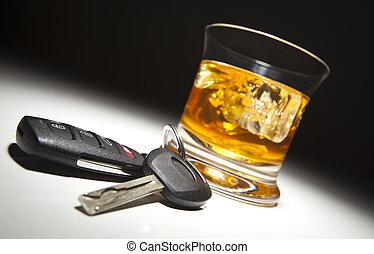 chiavi, automobile, bevanda, alcolico