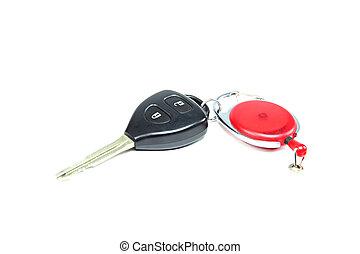 chiavi, automobile, bianco, isolato, fondo.