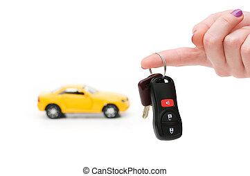 chiavi, automobile, bianco, isolato, fondo