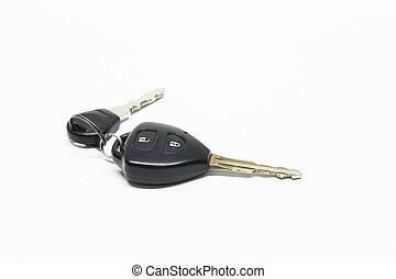 chiavi automobile, fondo, isolato, oggetti, bianco