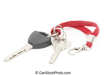 chiavi, automobile, moderno, isolato, fondo, bianco